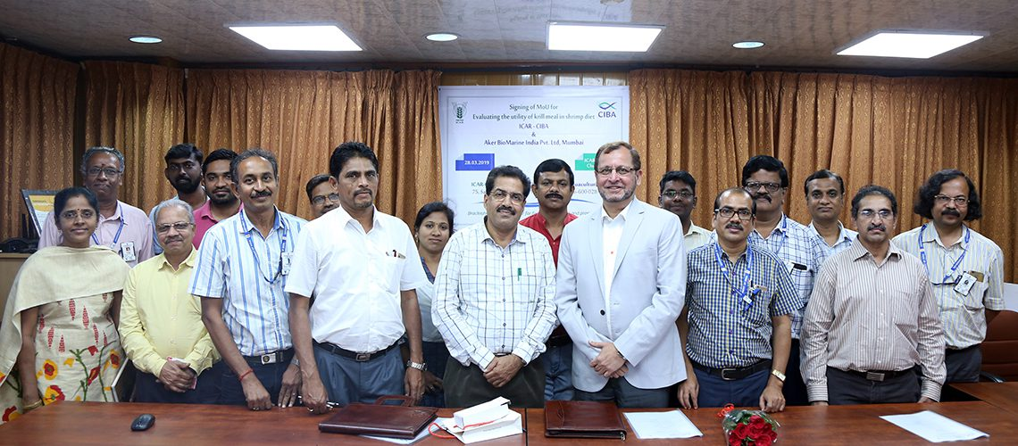 icar-ciba-and-aker-biomarine-private-limited-mumbai-signed-mou-in-exploring-fishmeal-replacement-initiatives-using-nutrient-rich-krill-meal-in-shrimp-and-fish-feeds