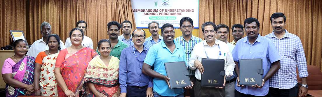 ICAR-CIBA Signed MOU For Transferring PlanktonPlus, And HortiPlus Production Technology And Product Marketing To Nambikkai Fish Farmers Group, Chennai And Coastra Biosolutions Pvt Ltd., Chennai