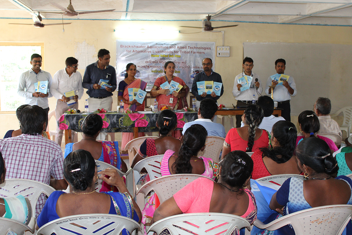 "Navsari Gujarat Research Centre of ICAR-CIBA conducted Training on ""Brackishwater Aquaculture and Allied Technologies for Alternative Livelihoods"" for the Tribal Farmers at Matwad Village, Navsari, Gujarat"