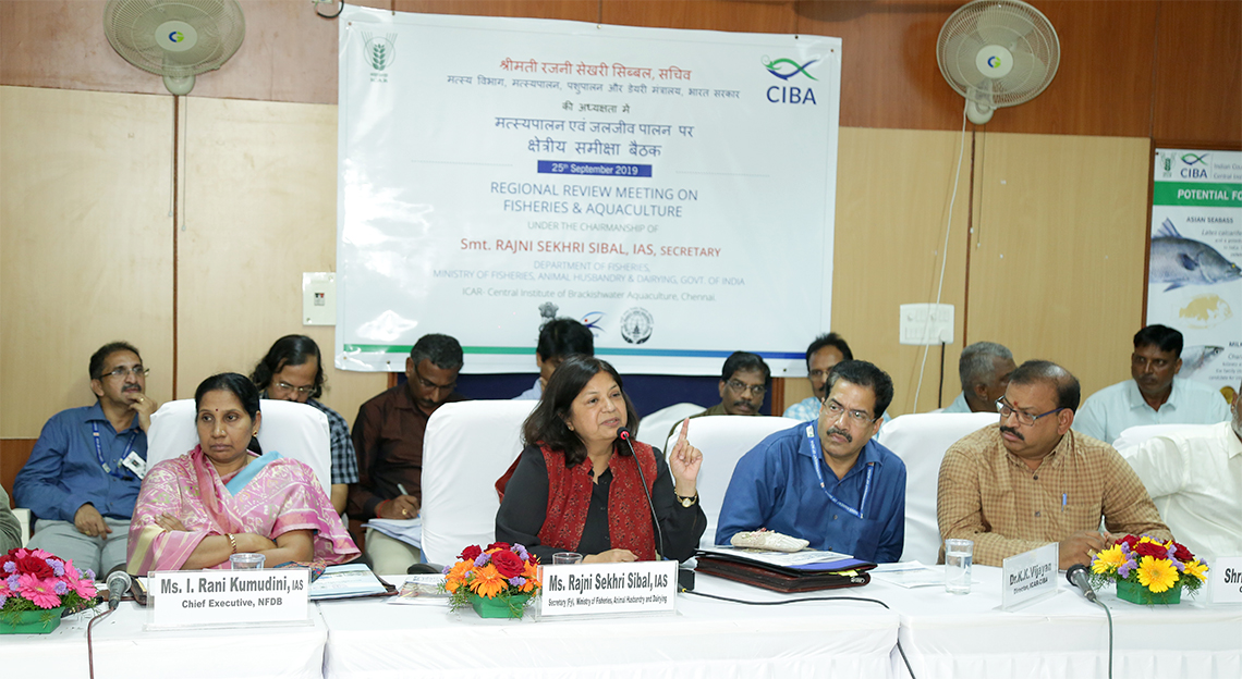 Secretary, Department of Fisheries, Ministry of Fisheries, Animal husbandry and Dairying, Government of India, conducted interactive meeting with stakeholders and coastal state governments at Muttukadu Experimental Station of ICAR-Central Institute of Brackishwater Aquaculture (CIBA), 25th September, Chennai