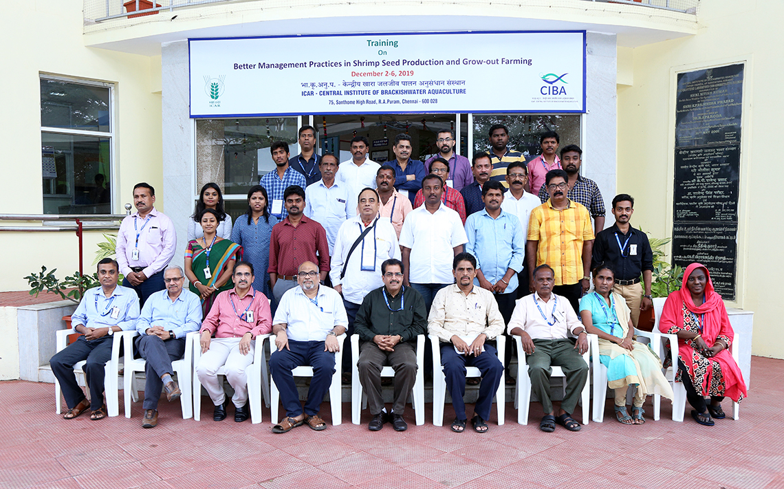 ICAR-CIBA Conducted training on 'Better management practices in shrimp seed production and growout farming'
